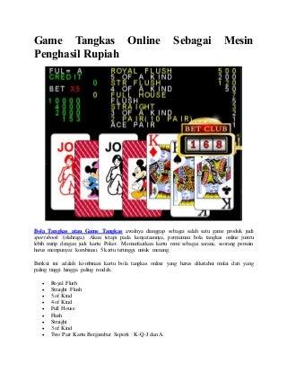 Game tangkas online sebagai mesin penghasil rupiah