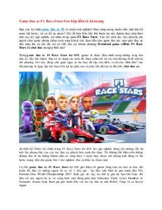 Game đua xe f1 race stars free hap dan va an tuong