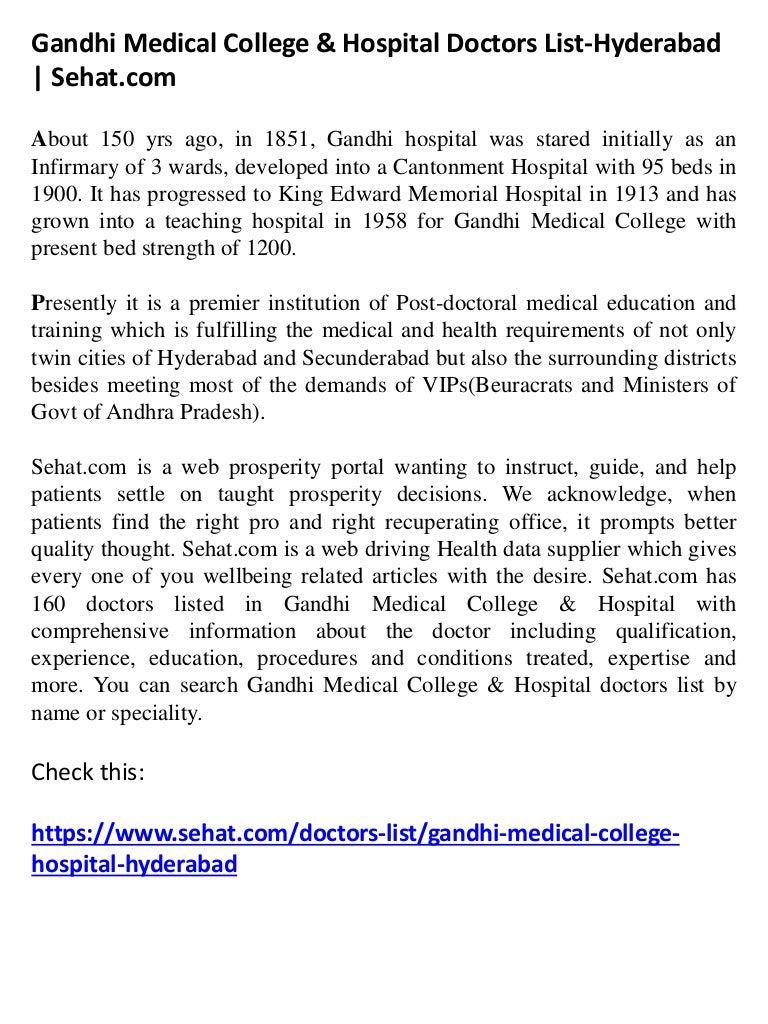 gandhi medical college hospital doctors list hyderabad sehat
