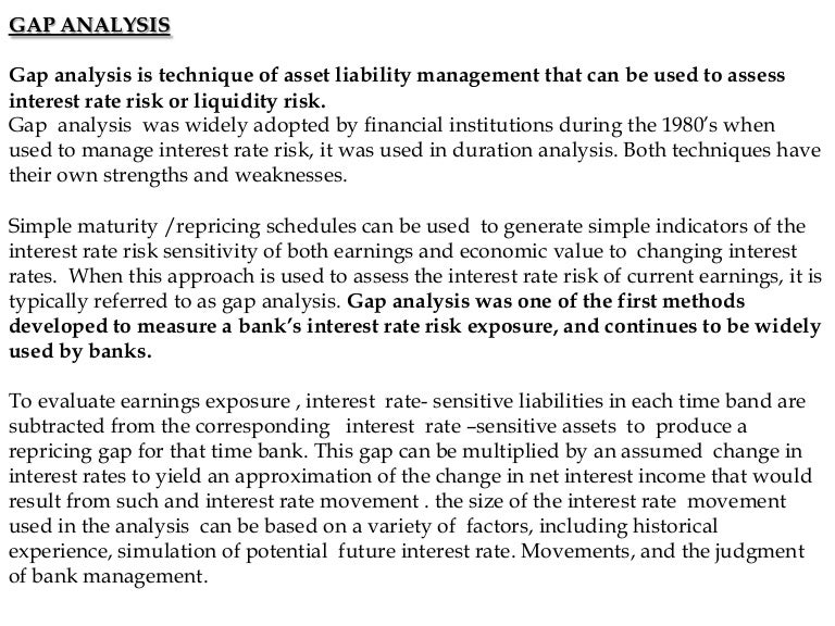 Gap analysis in banks – Sample Gap Analysis