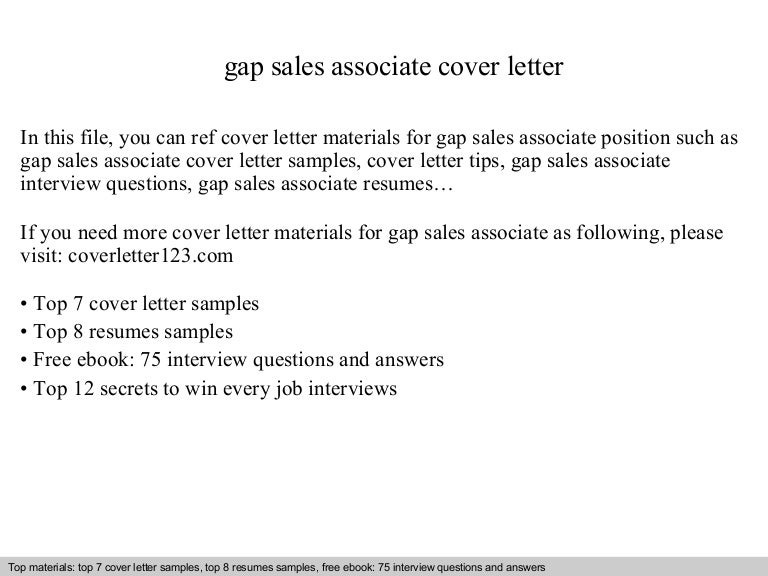 gap sales associate cover letter - Cover Letter Sample Sales Associate