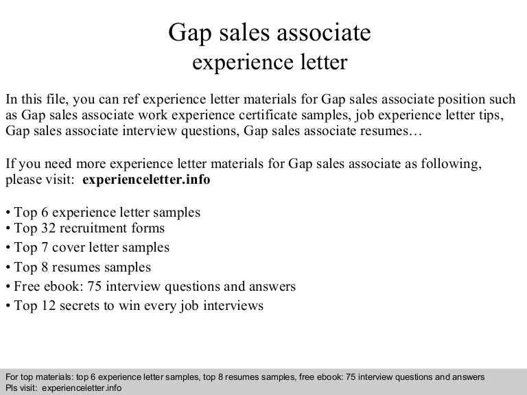 Sales Associate Cover Letter  Top Job Search Materials For Gap