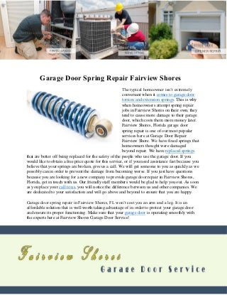 Garage door spring repair fairview shores