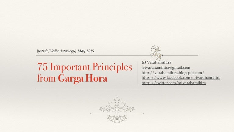 75 Key Jyotish Principles from Garga Hora