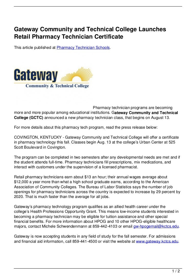 Gateway community and technical college launches retail pharmacy tech 1betcityfo Gallery