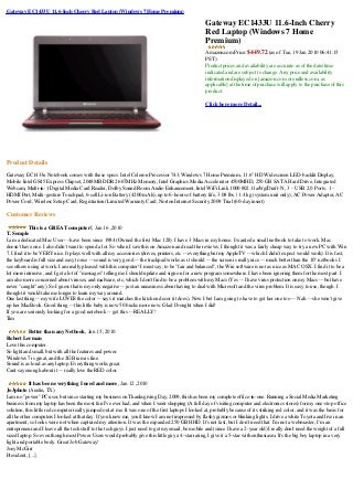 Gateway Ec1433 U 11.6 Inch Cherry Red Laptop (Windows 7 Home Premium)