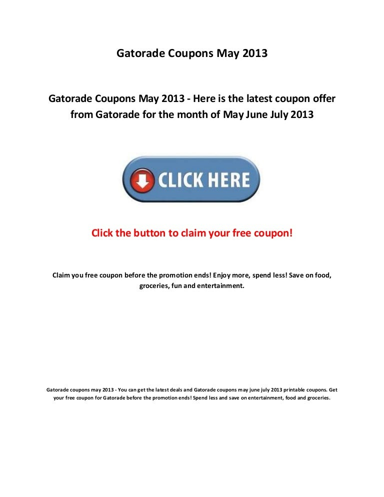 photograph about Gatorade Coupons Printable identified as Gatorade coupon codes may well 2013
