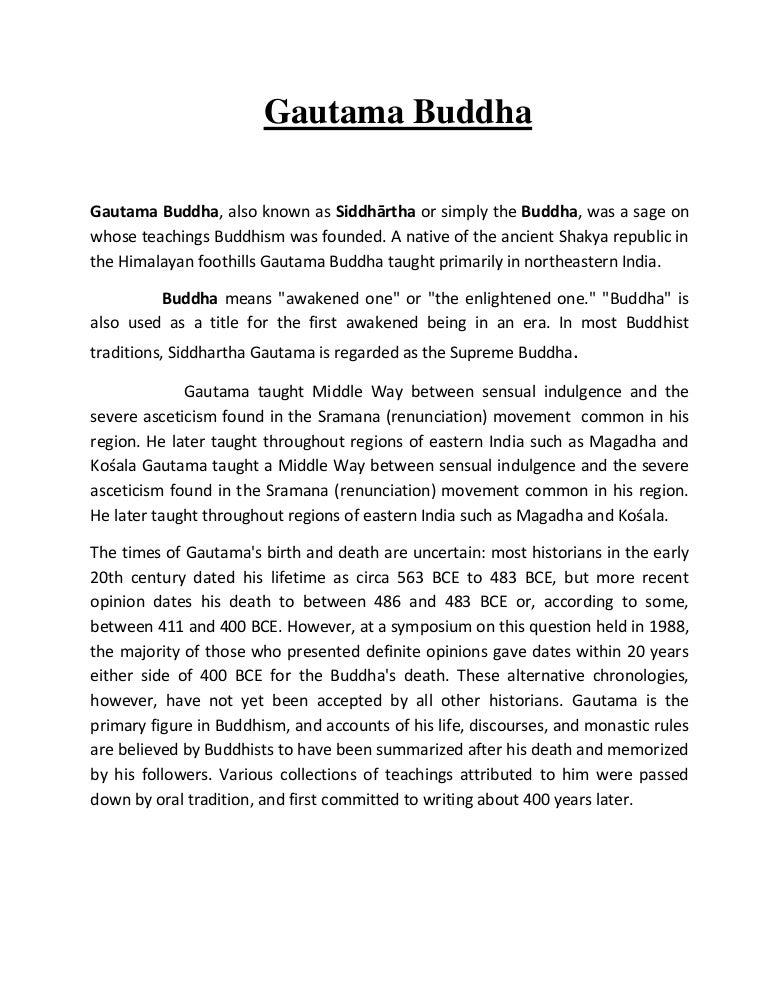 short essay on gautam buddha