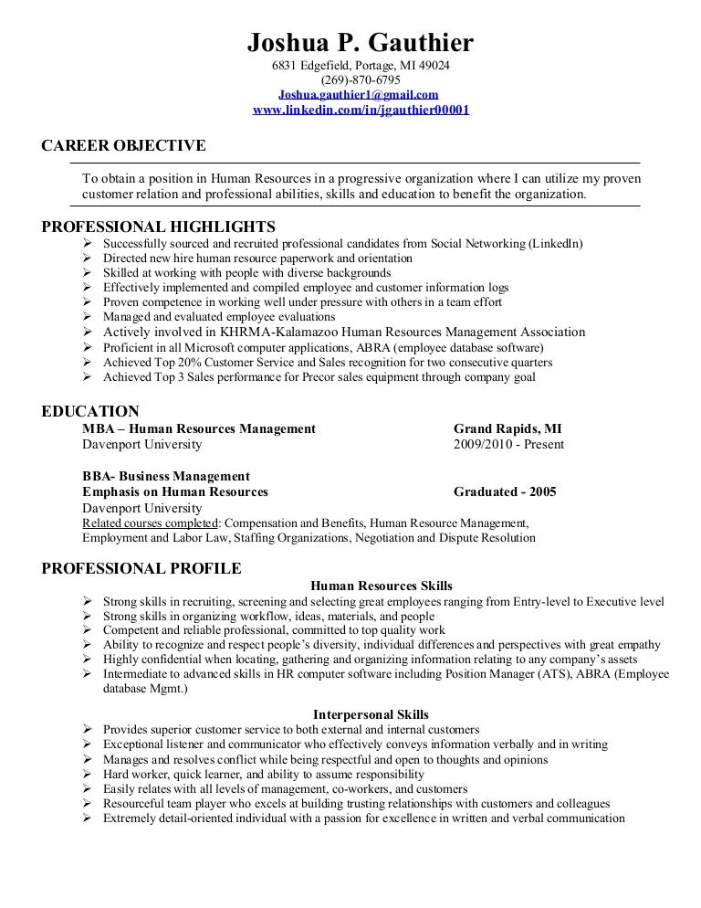 Gauthier Joshua 2011 Hr Resume1  Entry Level Human Resources Resume