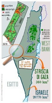 Gaza strip compared to Israel