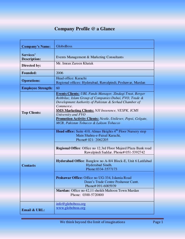 Event management companies profile samples
