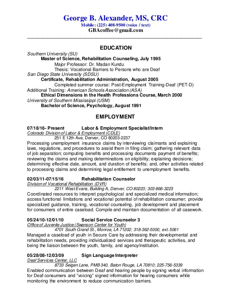 george alexanders resume january 2017 vocational counselor resume