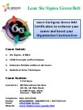 Six Sigma Green Belt Certification training in chennai