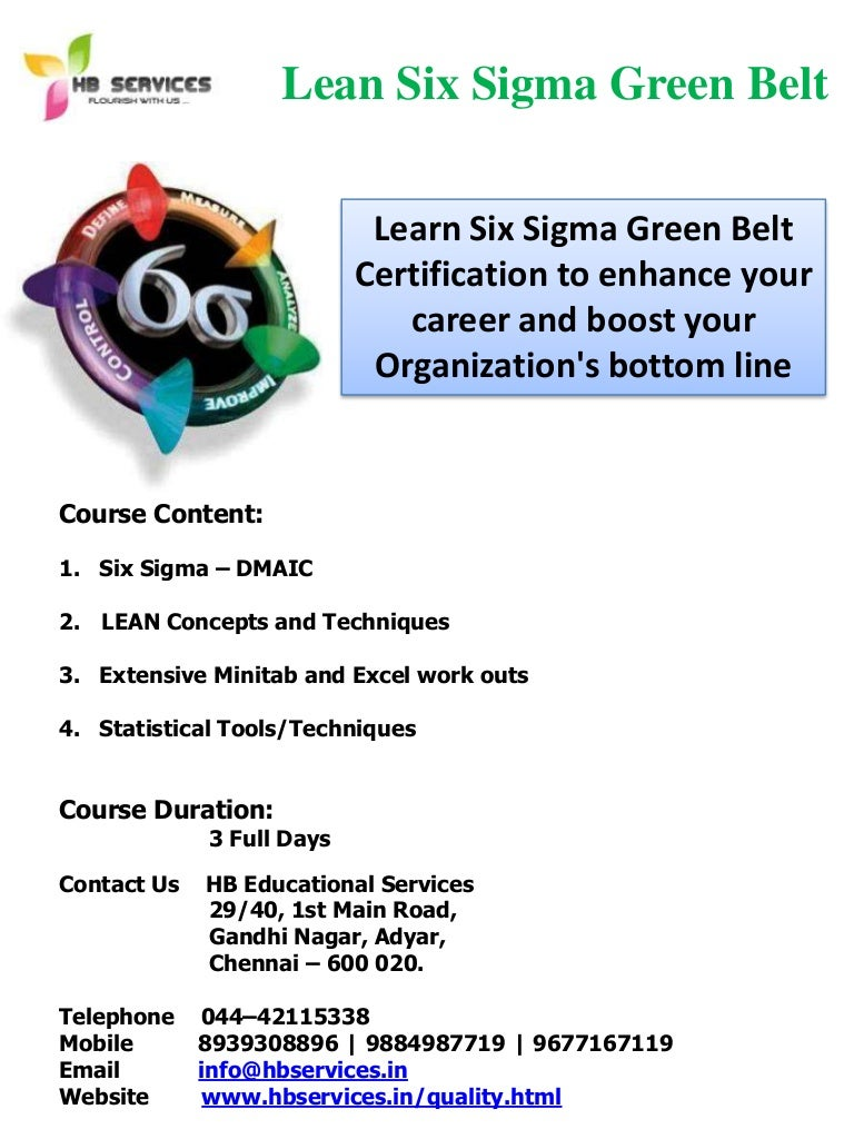 Six sigma green belt certification training in chennai 1betcityfo Image collections