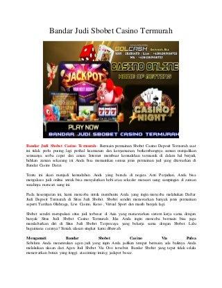 Bandar Judi Sbobet Casino Termurah