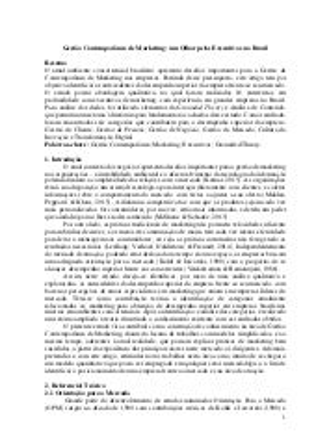 Gestão Contemporânea de Marketing – um olhar pelos executivos no Brasil