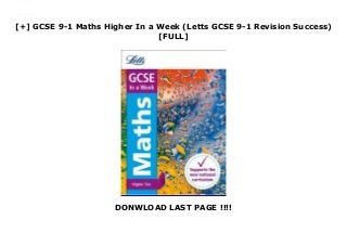 [+] GCSE 9-1 Maths Higher In a Week (Letts GCSE 9-1 Revision Success) [FULL]
