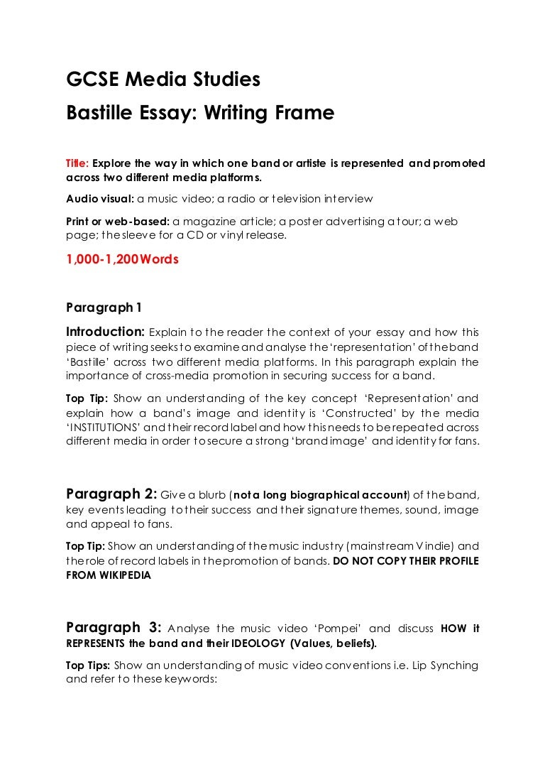 gcse media studies bastille essay writing frame