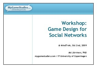 Social Games Design Workshop