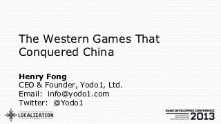 How to publish Western smartphone games in China -- GDC talk from Yodo1.com