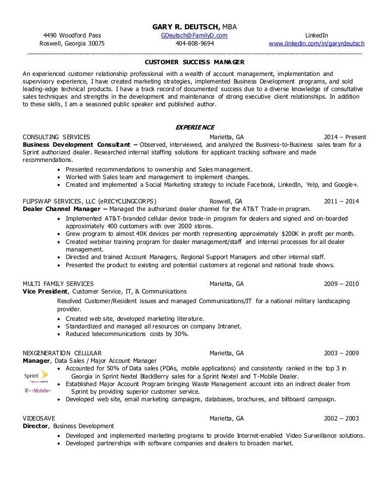 Gary R. Deutsch Resume - Customer Success Mgmt