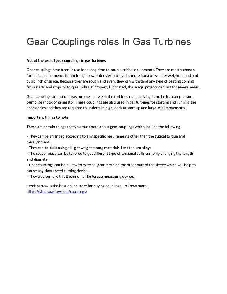 Gear couplings roles in gas turbines
