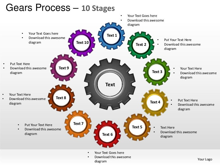 gears cogs mechanical process 10 stages powerpoint templates, Modern powerpoint
