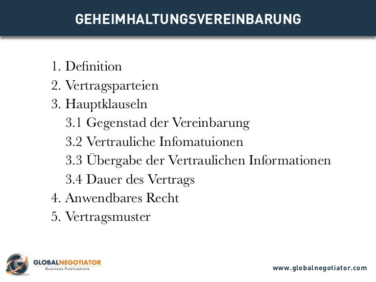 GEHEIMHALTUNGSVEREINBARUNG - Muster und Vorlage
