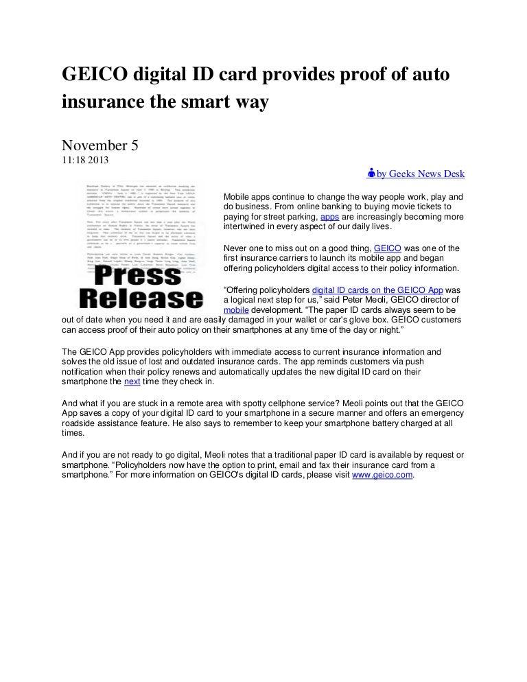 Geico Insurance Address >> Geico Digital Id Card Provides Proof Of Auto Insurance The Smart Way