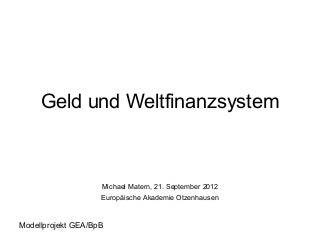 Geld und Weltfinanzsystem