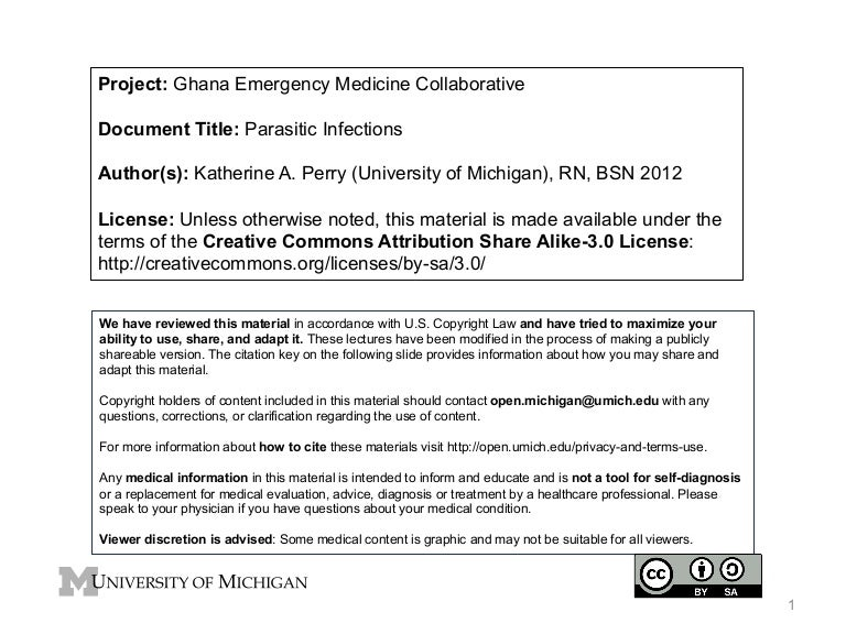 GEMC - Parasitic Infections - for Nurses