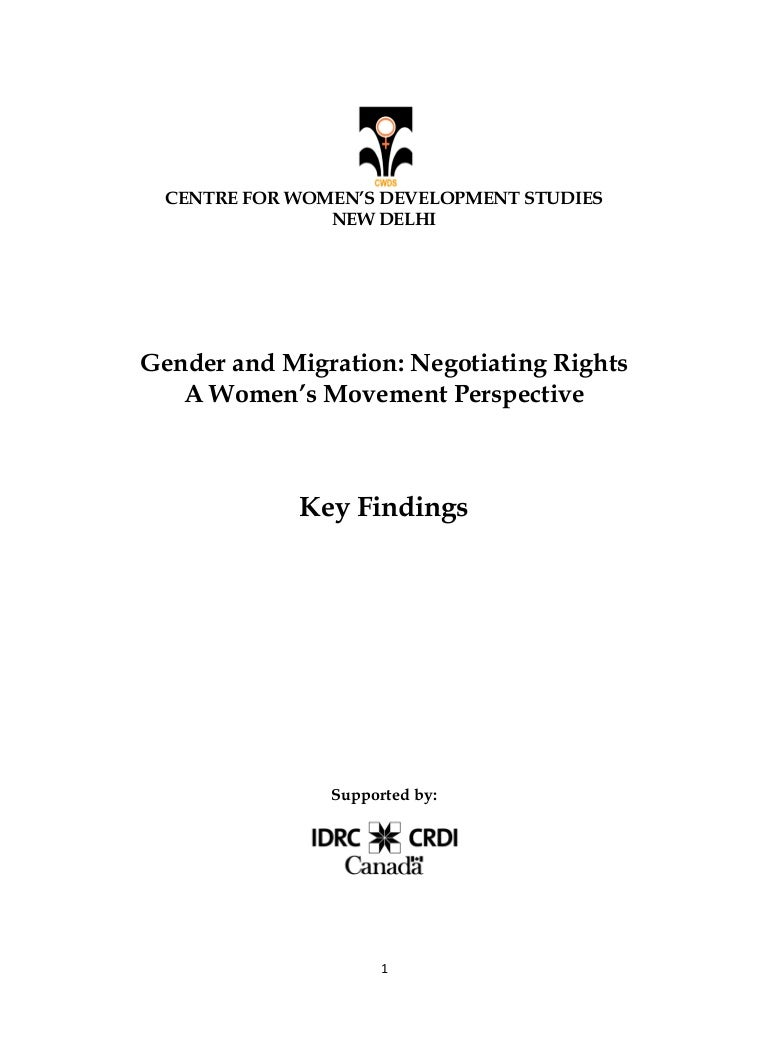 Gender and Migration: Negotiating Rights - A Women's Movement Perspective