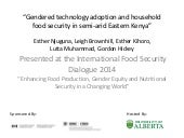 Gender: gendered technology adoption and household food security in semi arid eastern kenya