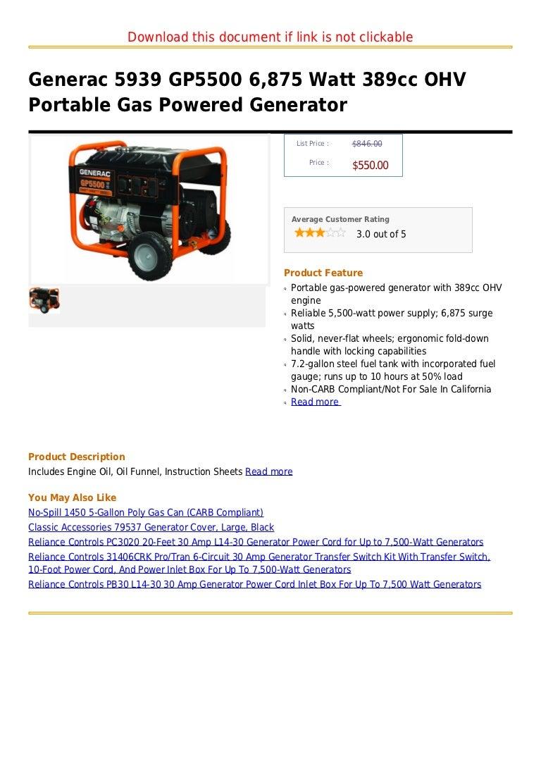 Generac 5939 gp5500 6,875 watt 389cc ohv portable gas