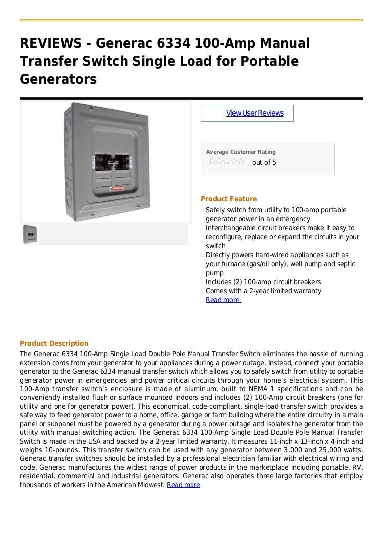 Generac 6334 100 Amp Manual Transfer Switch Single Load For Portable Circuit Breaker