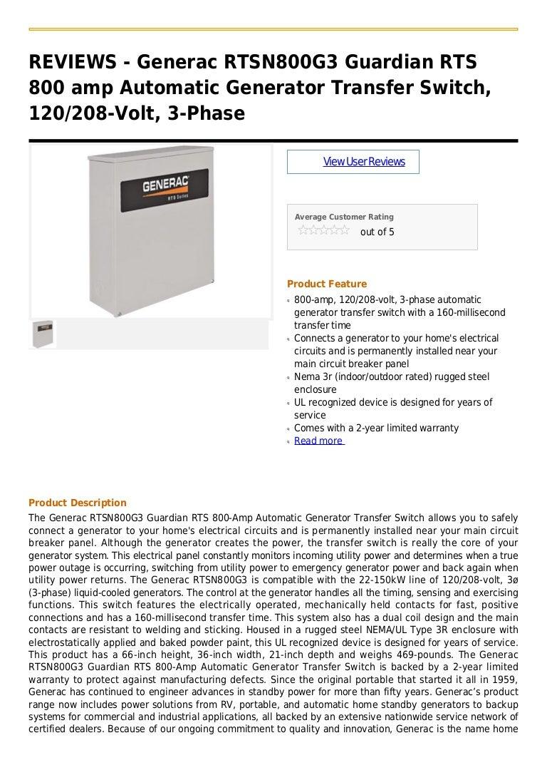 Generac Rtsn800 G3 Guardian Rts 800 Amp Automatic Generator Transfer Switch Breaker Panel