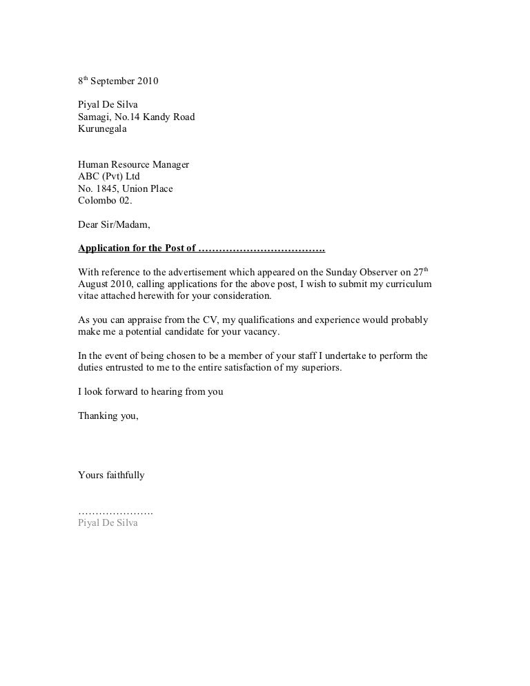 SlideShare  Application Cover Letter Format