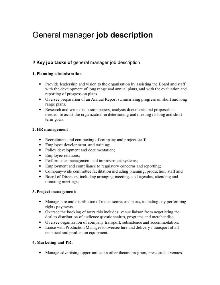 general manager job description hotel manager cv template job