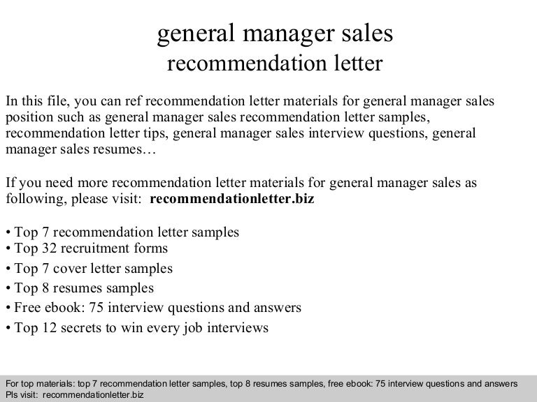 General manager sales recommendation letter fandeluxe PDF