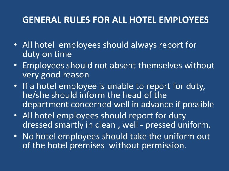 General Rules For Hotel Employees