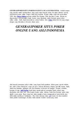Generasipoker situs poker online uang asli indonesia