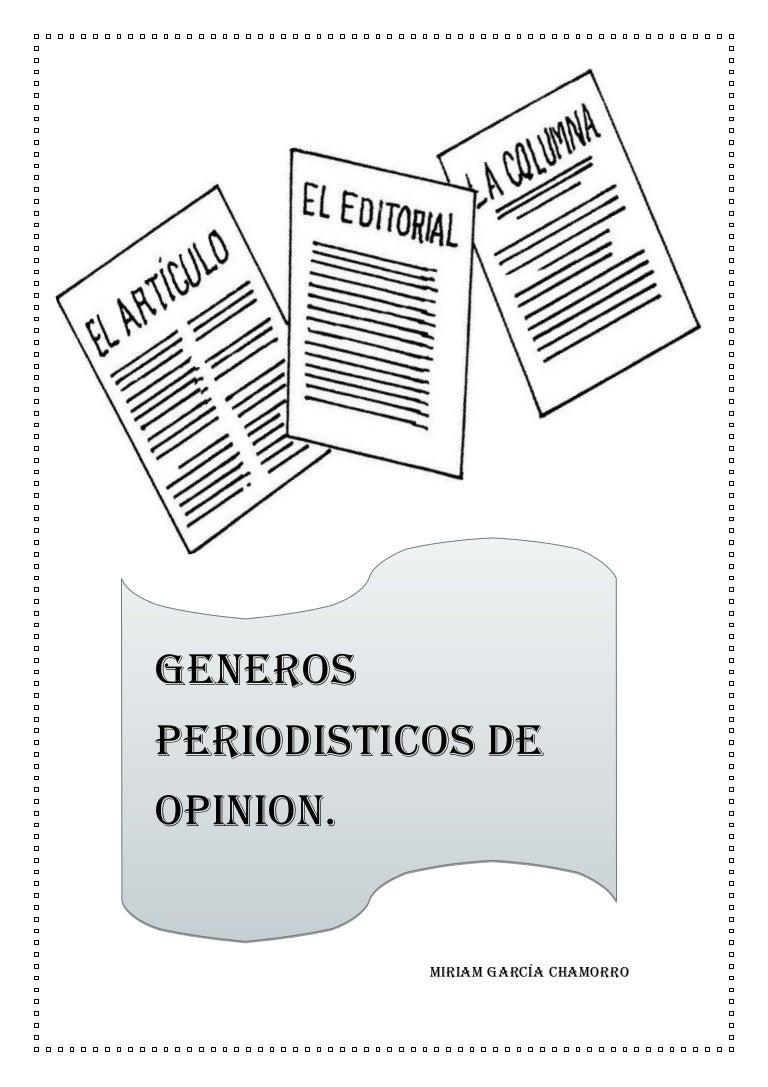 Generos periodisticos de opinion