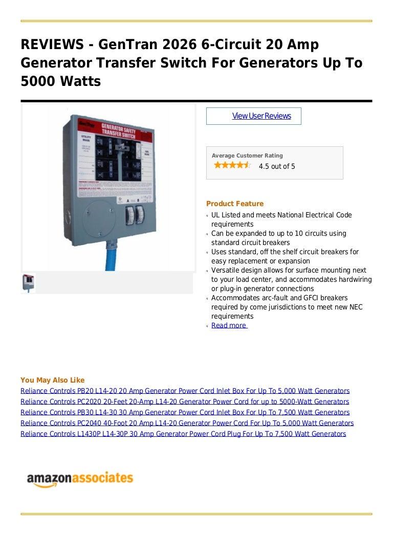 Gen Tran 2026 6 Circuit 20 Amp Generator Transfer Switch For Generato 4