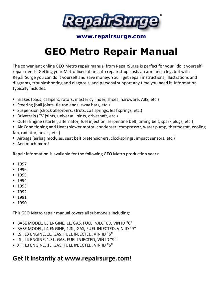 geo metro repair manual 1990 1997