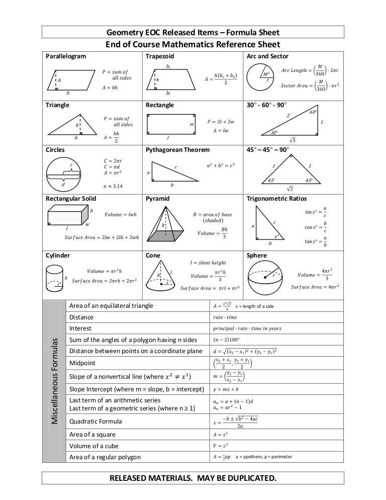 Geometry formula-sheet
