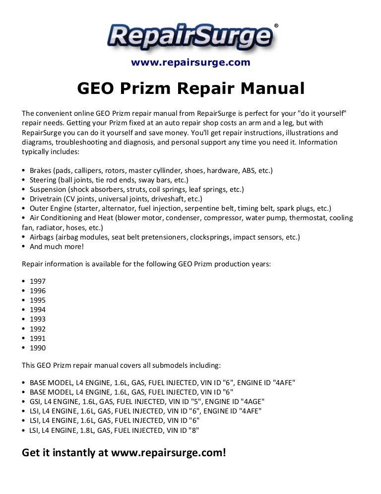 geo prizm repair manual 1990 1997