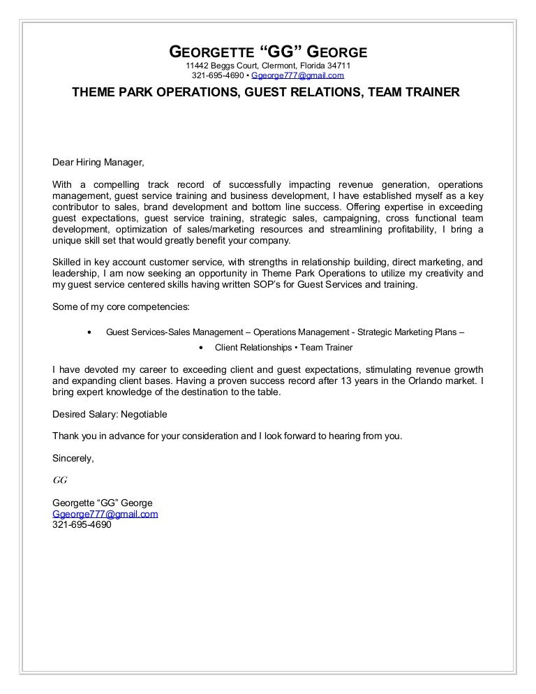 georgette george cover letter theme park operations - Guest Services Cover Letter