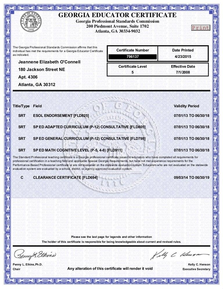 georgia educator certificate