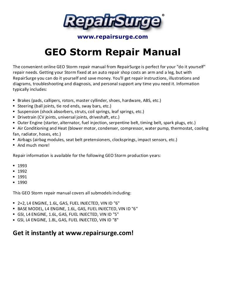 geo storm repair manual 1990 1993