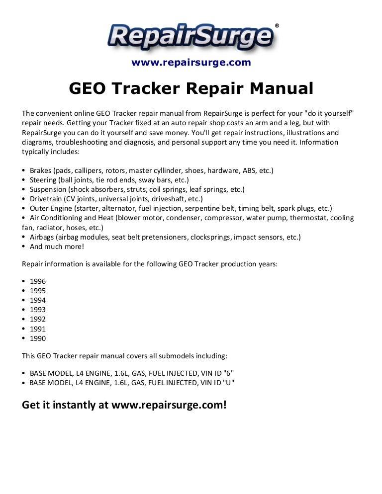 geo tracker repair manual 1990 1996 rh slideshare net